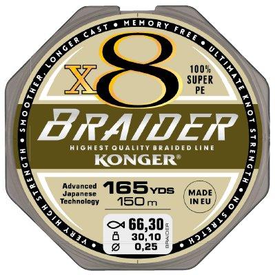 Konger Plecionka Braider x8 Olive Green 0,10/150m