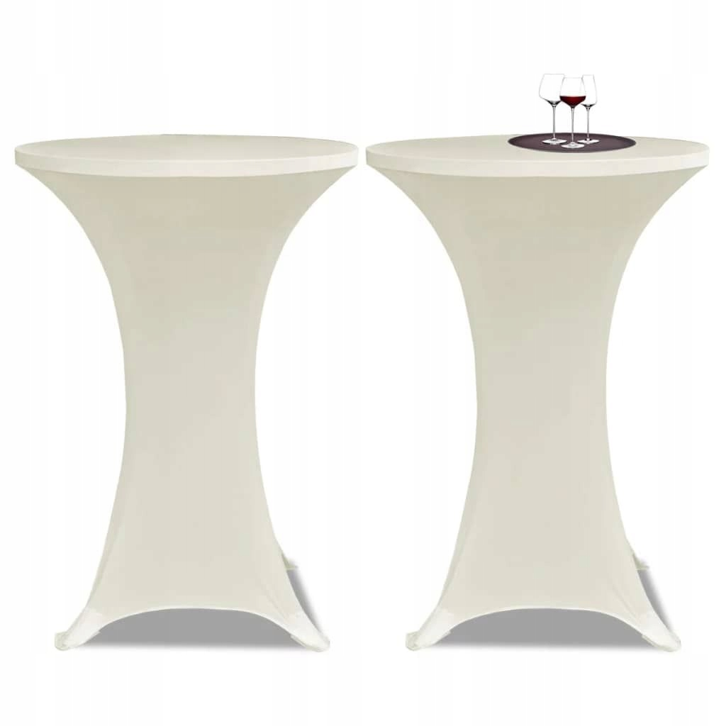 Obrus na stół barowy 60 cm kremowy rozciągany 2 sz