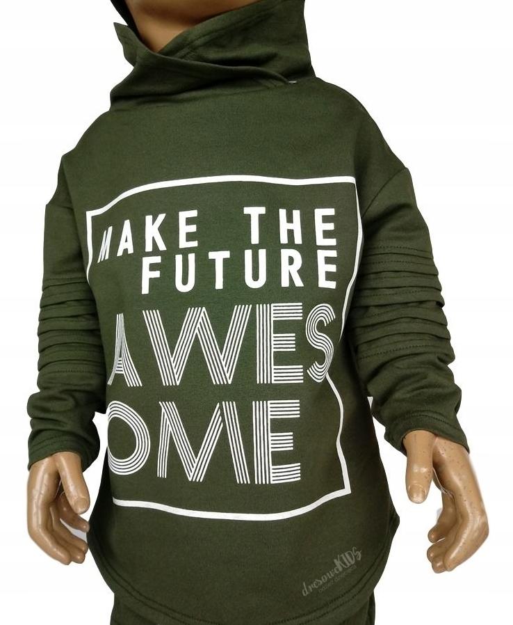 Bluza dresowa zielona khaki napis komin 128 7739071349