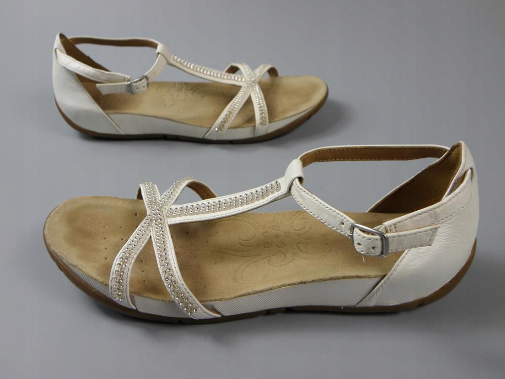 CLARKS skórzane sandały cekiny UK5D 38