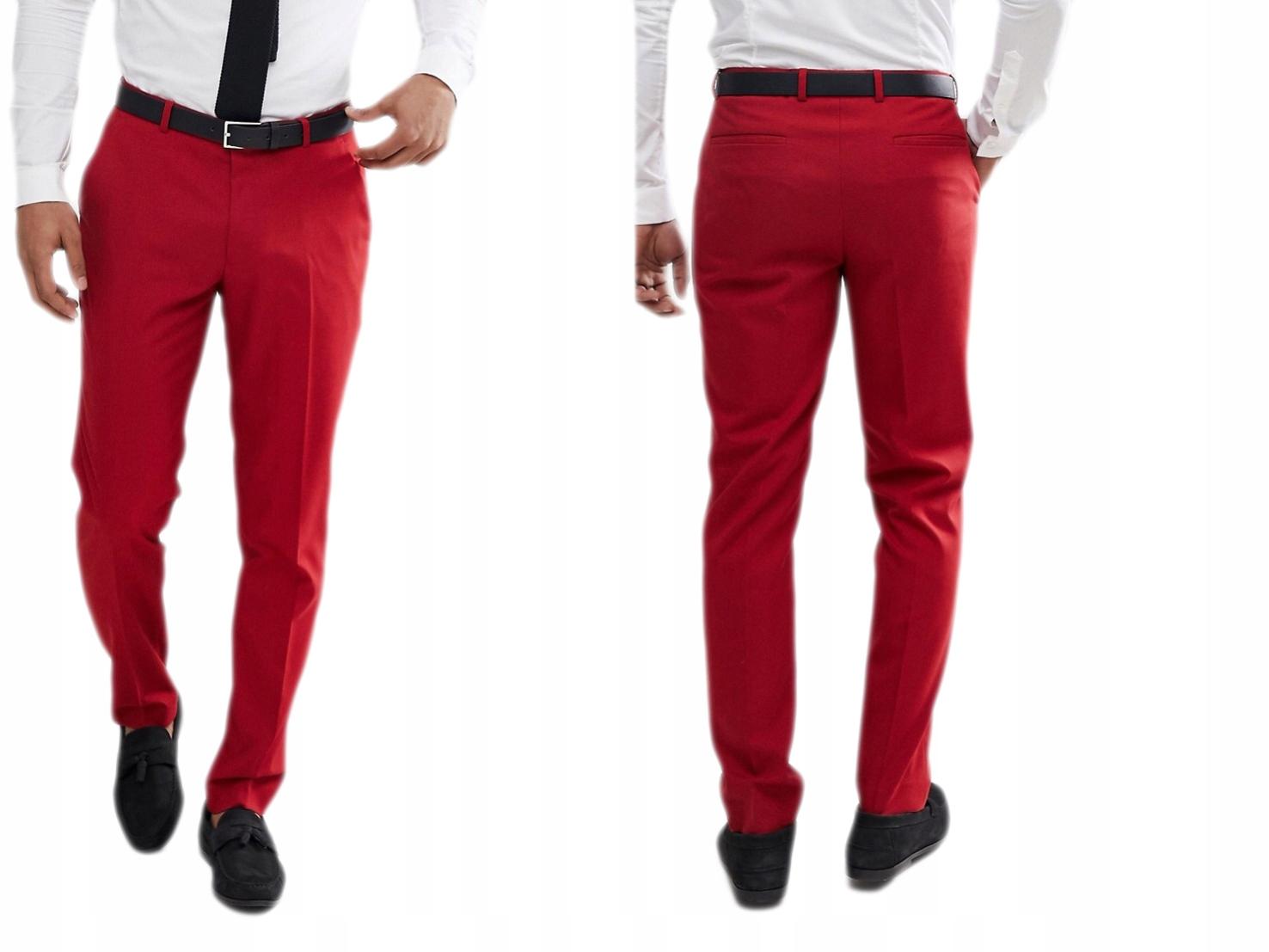 Czerwone Spodnie Eleganckie Na Kant W30 L32