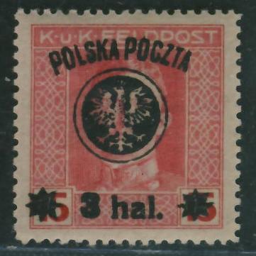 Polska Poczta 3 hal - nadruk na zn.Feldpost 15 h.