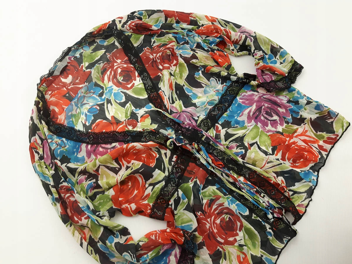 M&S wiązana BLUZKA NARZUTKA w kwiaty 46