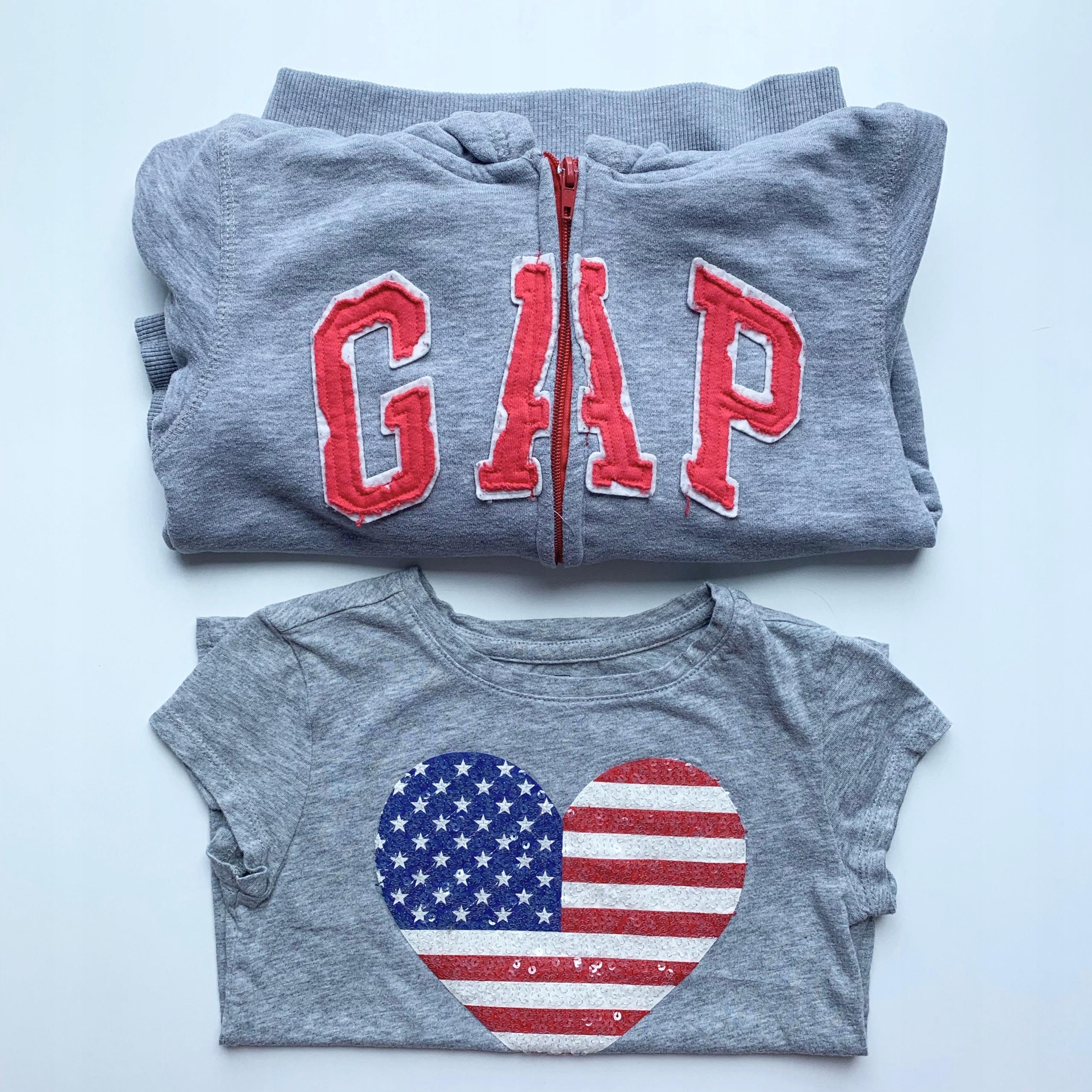 Komplet bluza GAP i koszulka, dla dziewczynki 6-7l