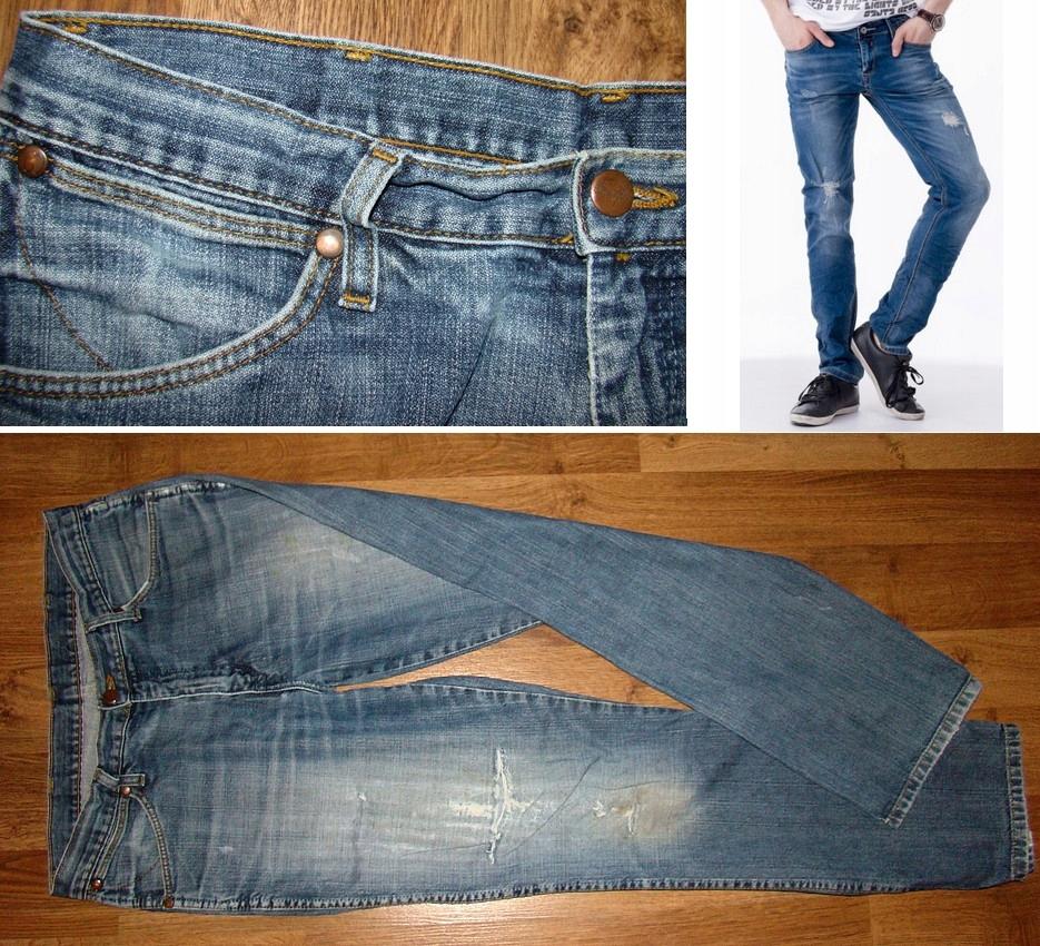 WRANGLER spodnie jeansy przetarcia stan ideał 33