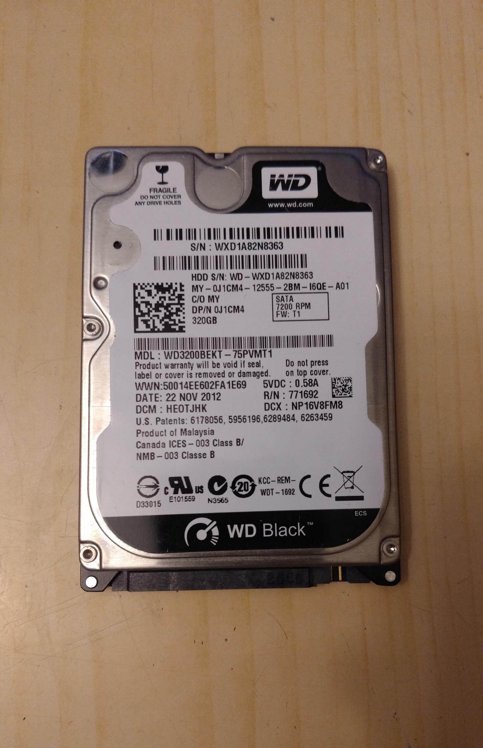 """WD BLACK WD3200BEKT 320GB HDD 7200RPM 2,5"""""""