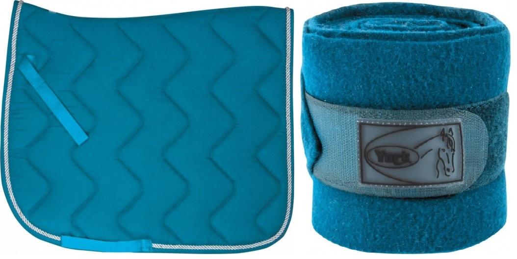 zestaw niebieski 1 full czaprak i owijki