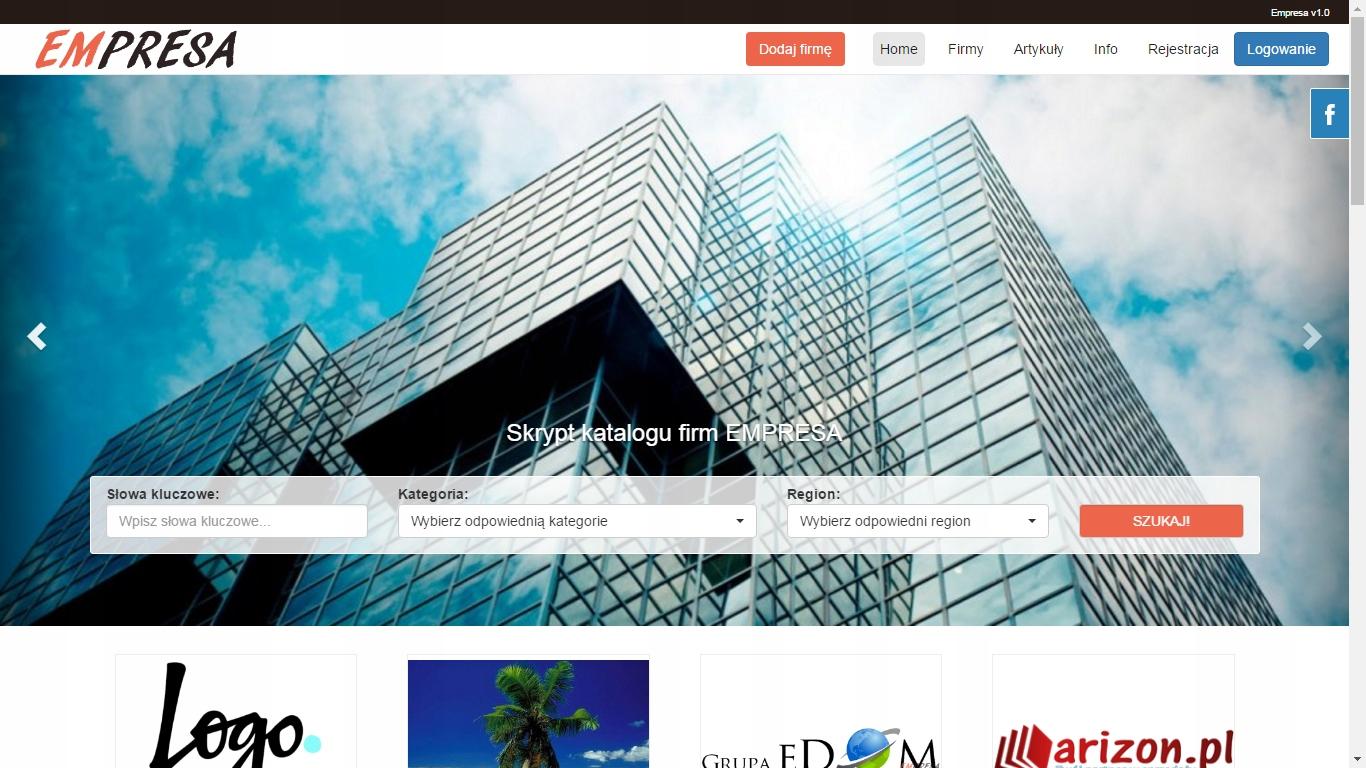 Skrypt strony www bazy i katalogu firm Empresa