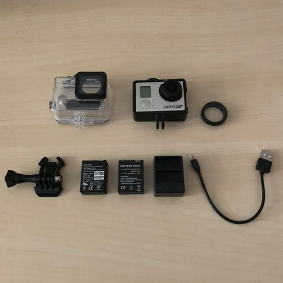 GoPro Hero 3+, 3 baterie, ładowarka, etui