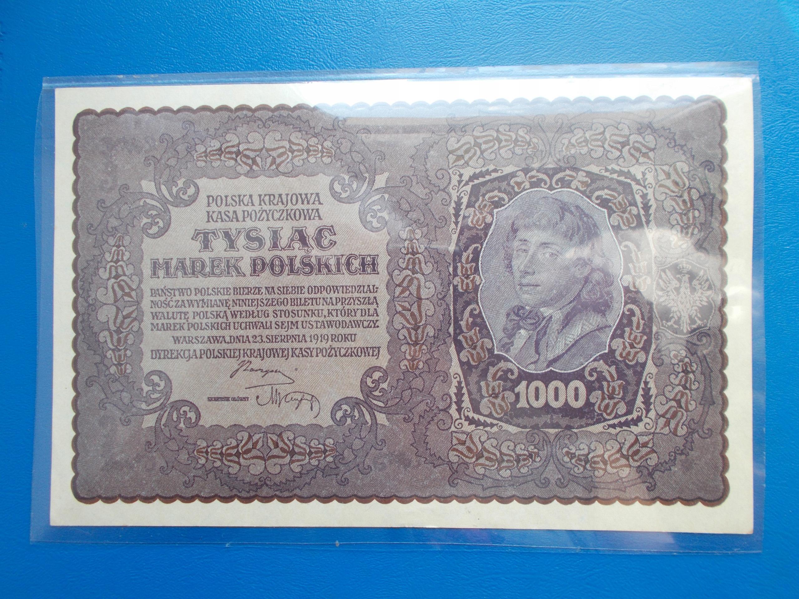 1 000 MAREK POLSKICH-1919-I Serja DT-rzadki-UNC