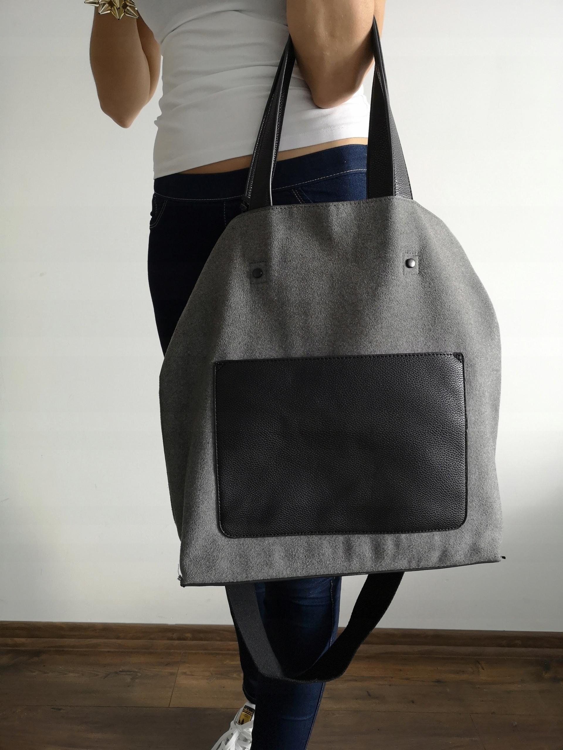 7d3287c113033 Szara duża torba materiałowa worek Reserved shoppe - 7581176867 ...