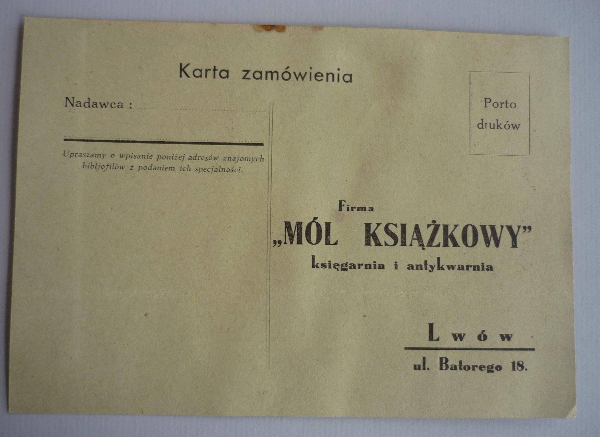 Karta Pocztowa Ksiegarnia Mol Ksiazkowy Lwow 7282691712