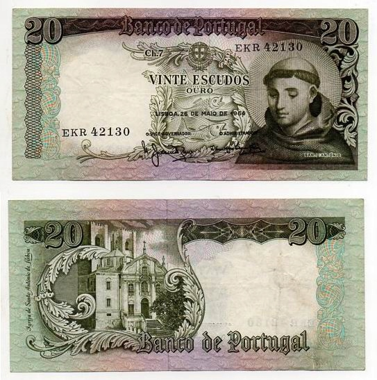 PORTUGALIA 1964 20 ESCUDOS