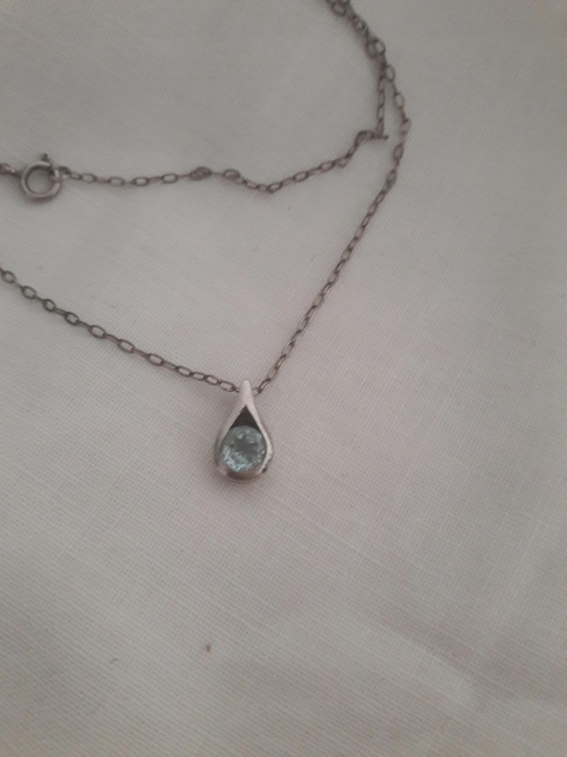 Stary wisiorek kropla topaz srebro pr. 925 łańcuch