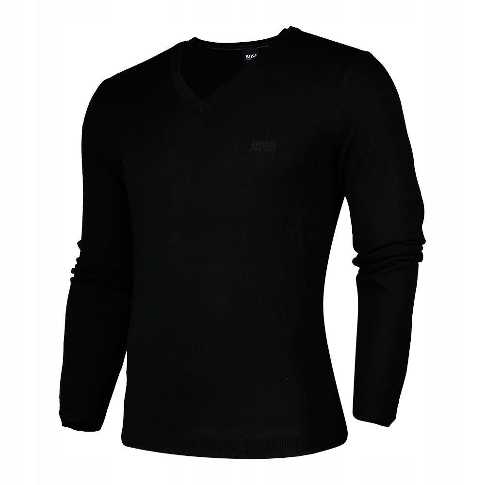 Sweter Hugo Boss Czarny V-neck 100% ORYGINAŁ roz.L