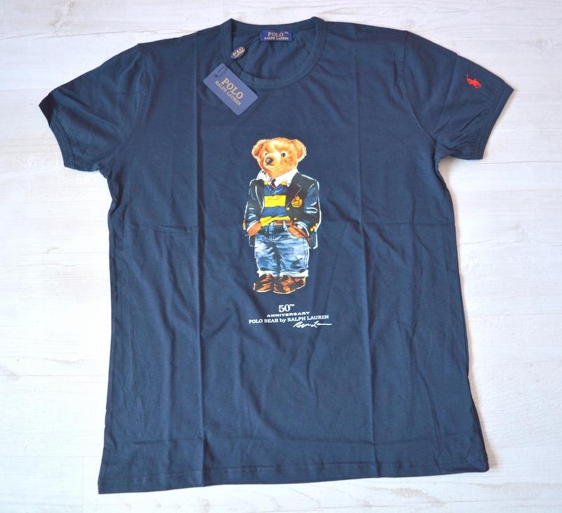 Polo Ralph Lauren granatowy T-shirt nadruk L/XL