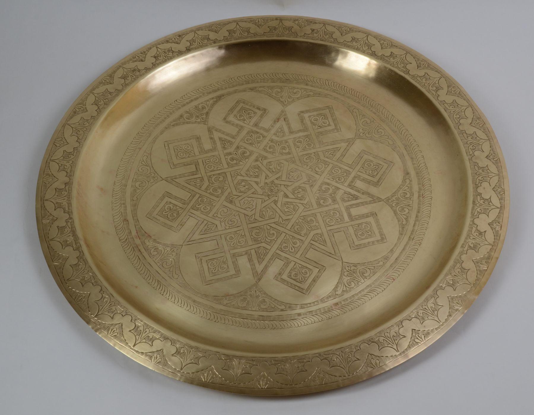 Wyjątkowa dekoracja złoty talerz mosiądz Hiszp.298