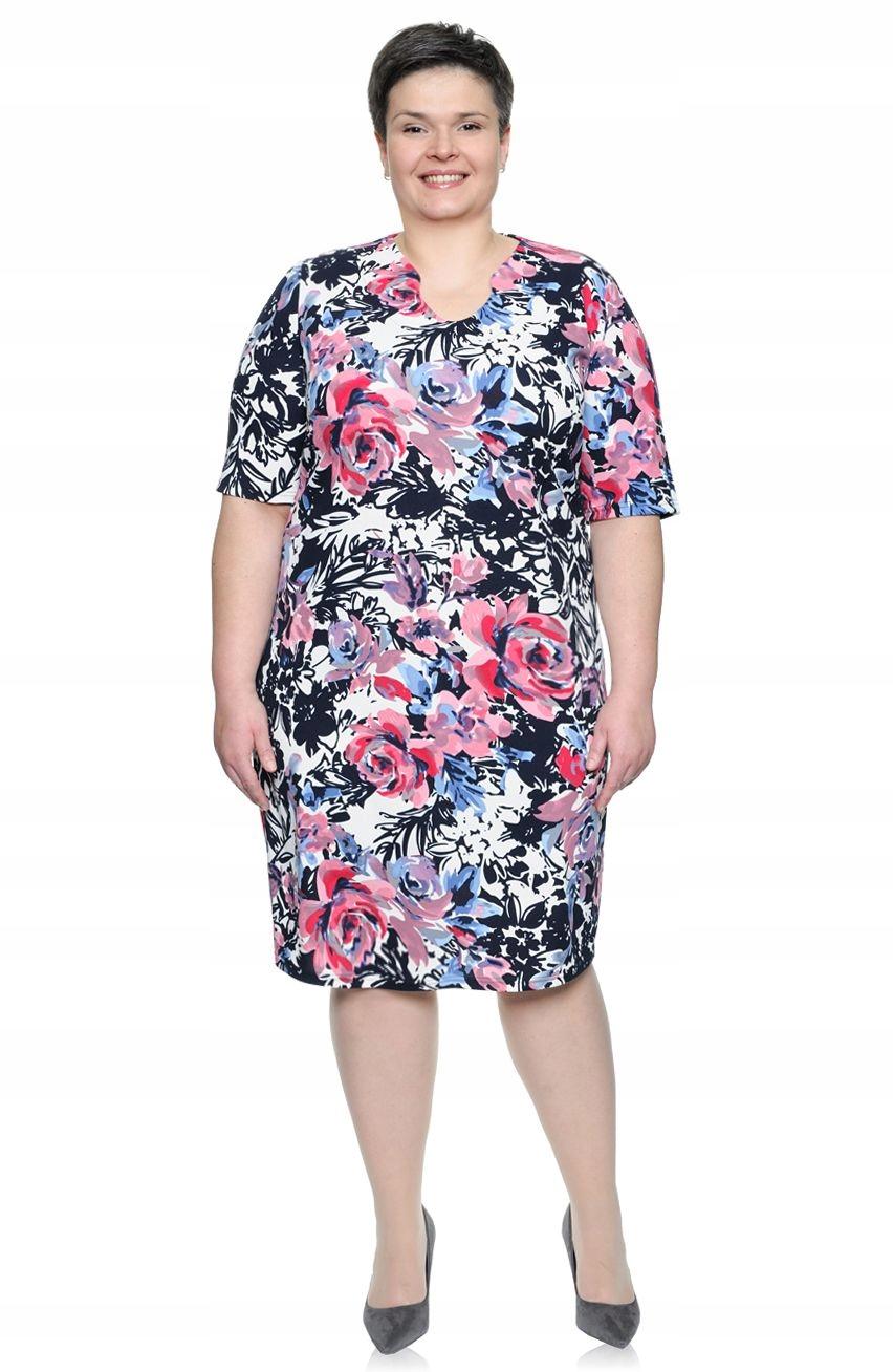 6a10d03952 Wielokolorowa sukienka w kwiecisty wzór 50 - 7385914140 - oficjalne ...