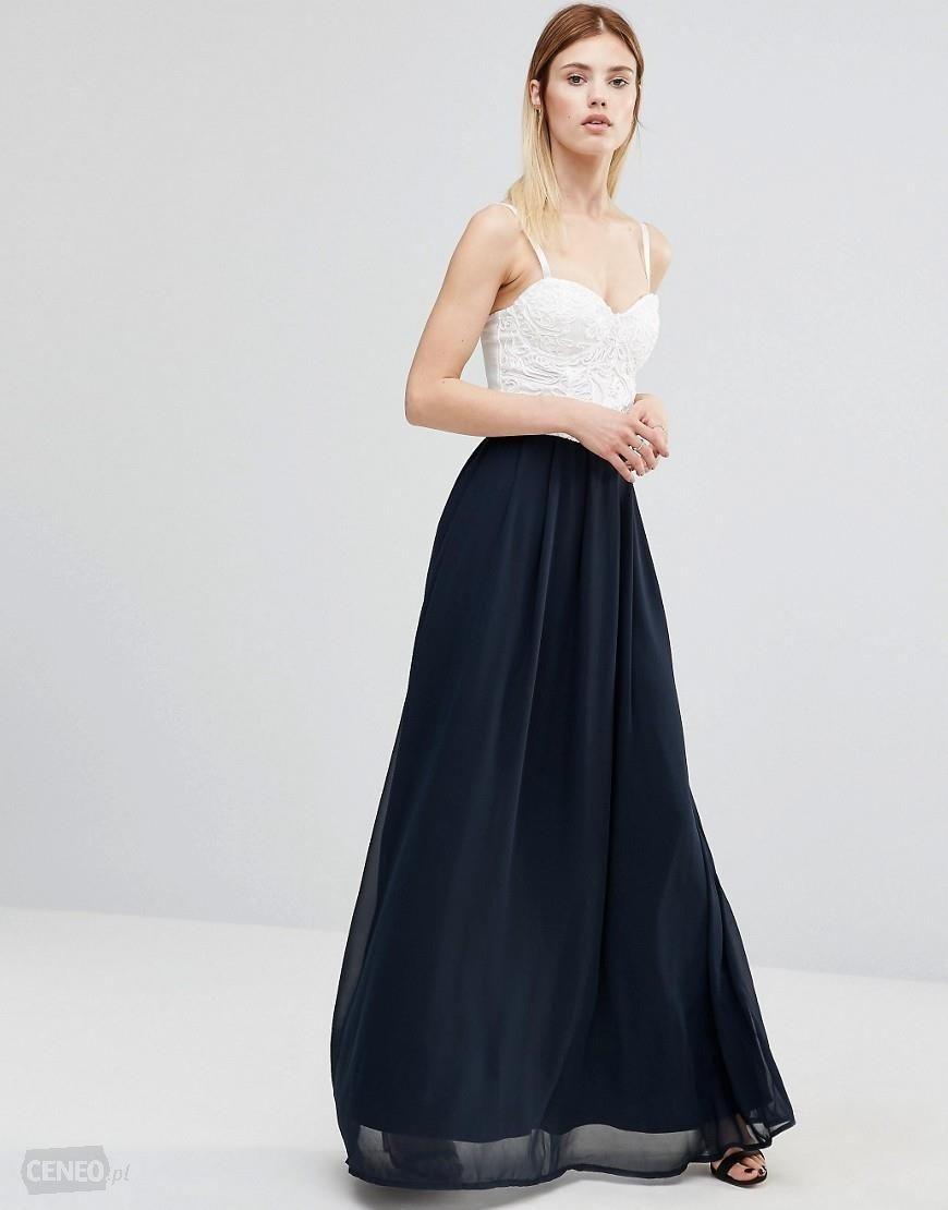 Design-Sukienka Długa Biało-Granatowa 40/L