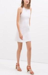 Sukienka biała zara basic XS na lato na wesele