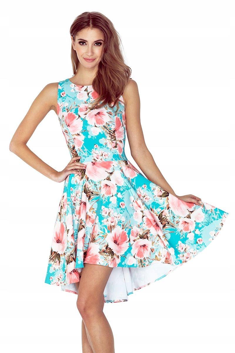 f6efc576f2 Sukienka z dłuższym tyłem KWIATY NIEBIESKIE TŁO XL - 7490958072 ...