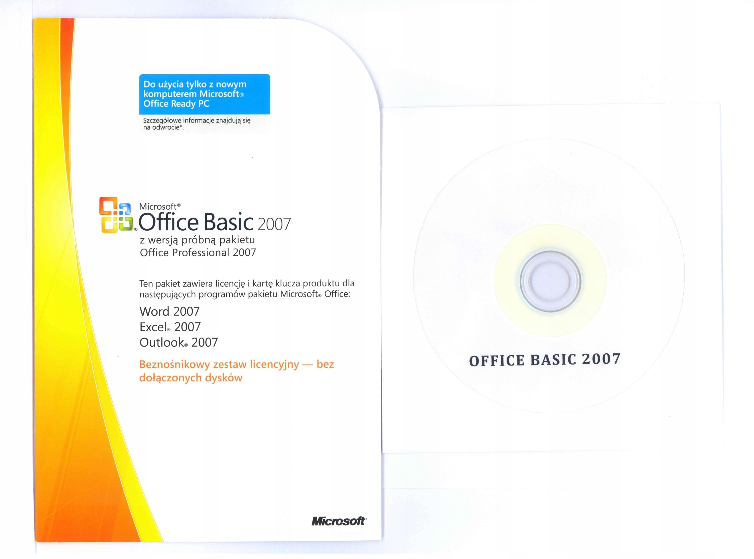 OKAZJA!!! OFFICE Basic 2007 PL NÓWKA!! + GRATIS!