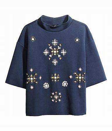H&M zjawiskowa biżuteryjna bluza z pianki S