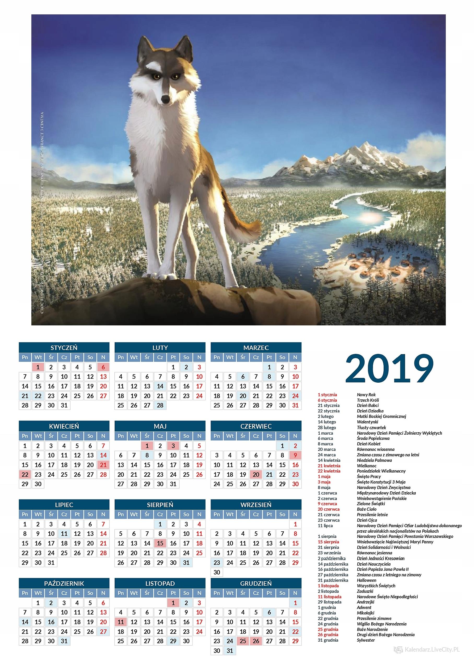 Kalendarz 2019 film biały kieł