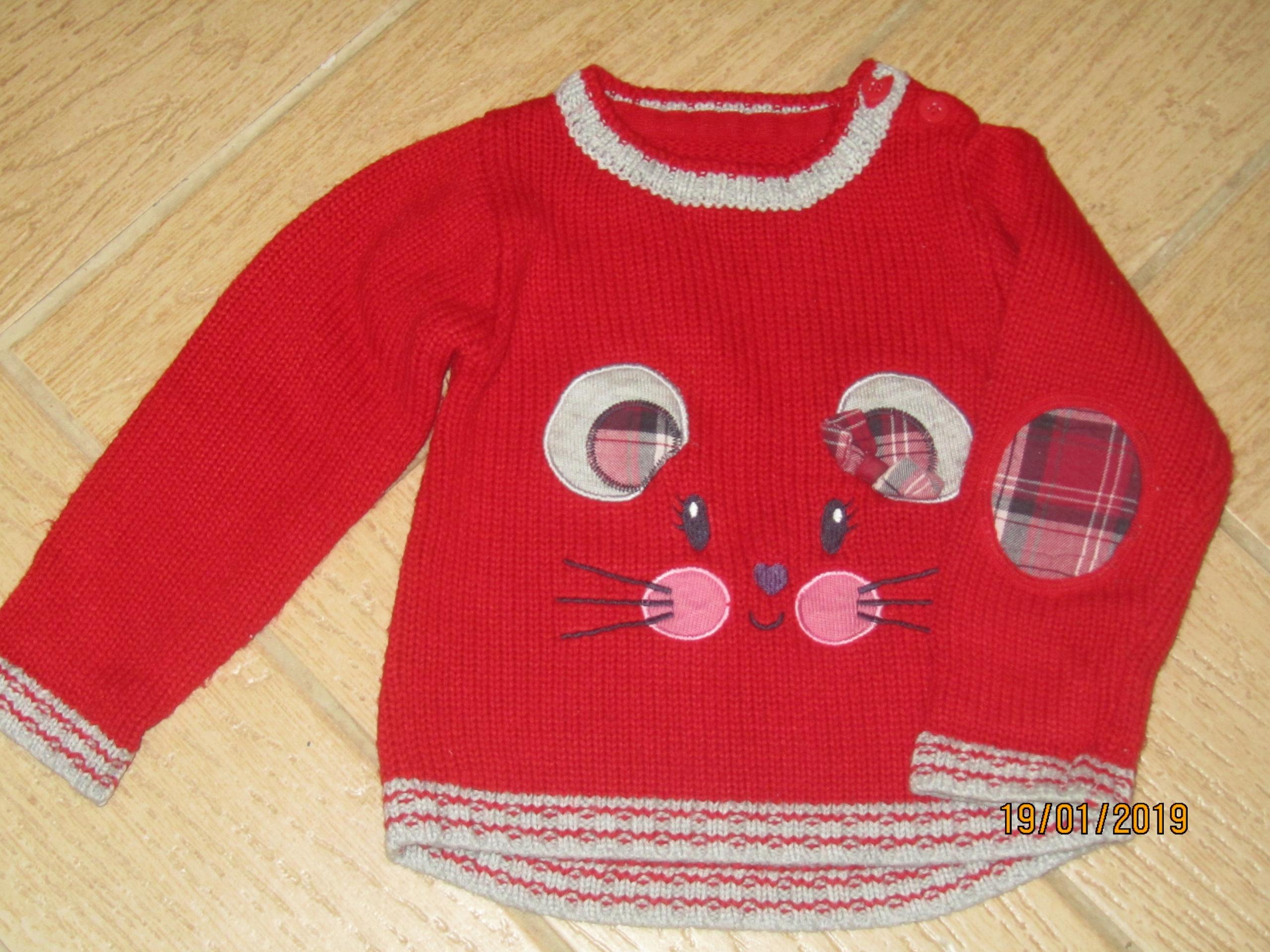 Sweterek czerwony kotek 86/92 bdb George