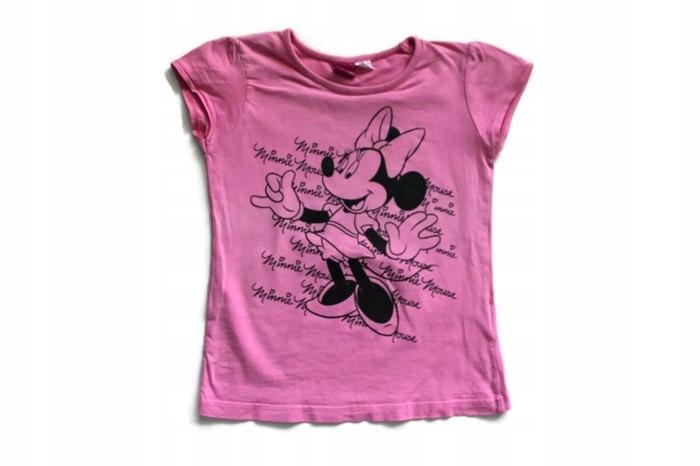 U438*DISNEY*Bawełna róż bluzka MINNIe MOUSE 134+
