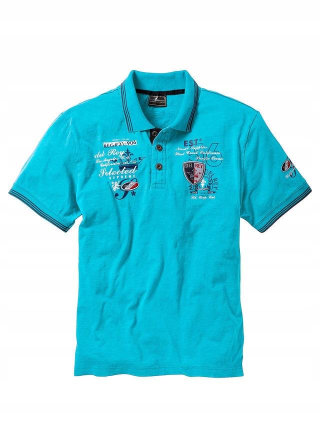 Shirt polo z efektowny niebieski 56/58 (XL) 903610