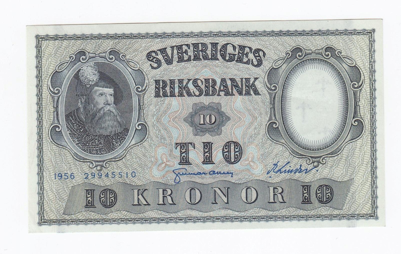 Banknot 10 koron Szwecja, st. 1-/2+, rzadszy.