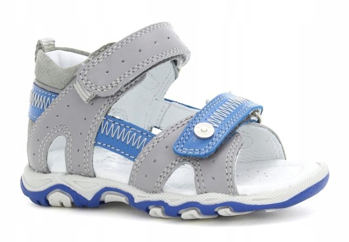 Sandały BARTEK dla chłopców szaro-niebieski 21