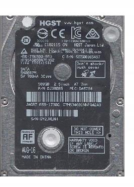 """HGST sata 500GB 2,5"""" 0J38035 HTS545050A7E362"""