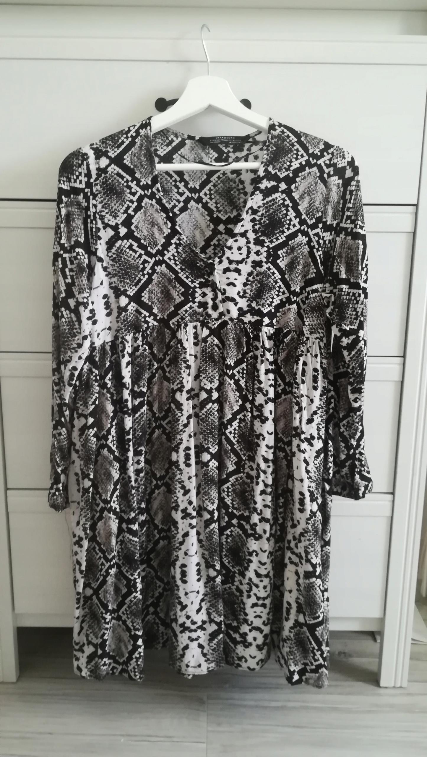 Zara Woman sukienka wężowa oversize skóra węża xs