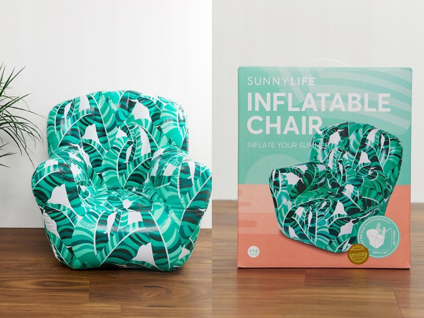 Sunnylife - Fotel dmuchany z wzorem paproci