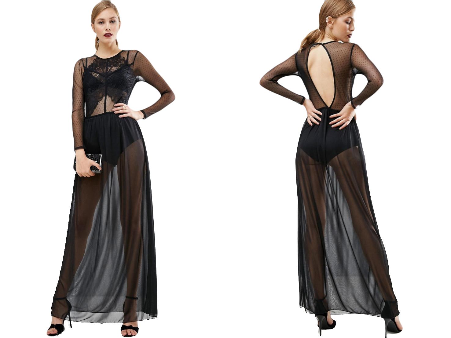 Czarna koronkowa sukienka maxi siateczka 42/XL