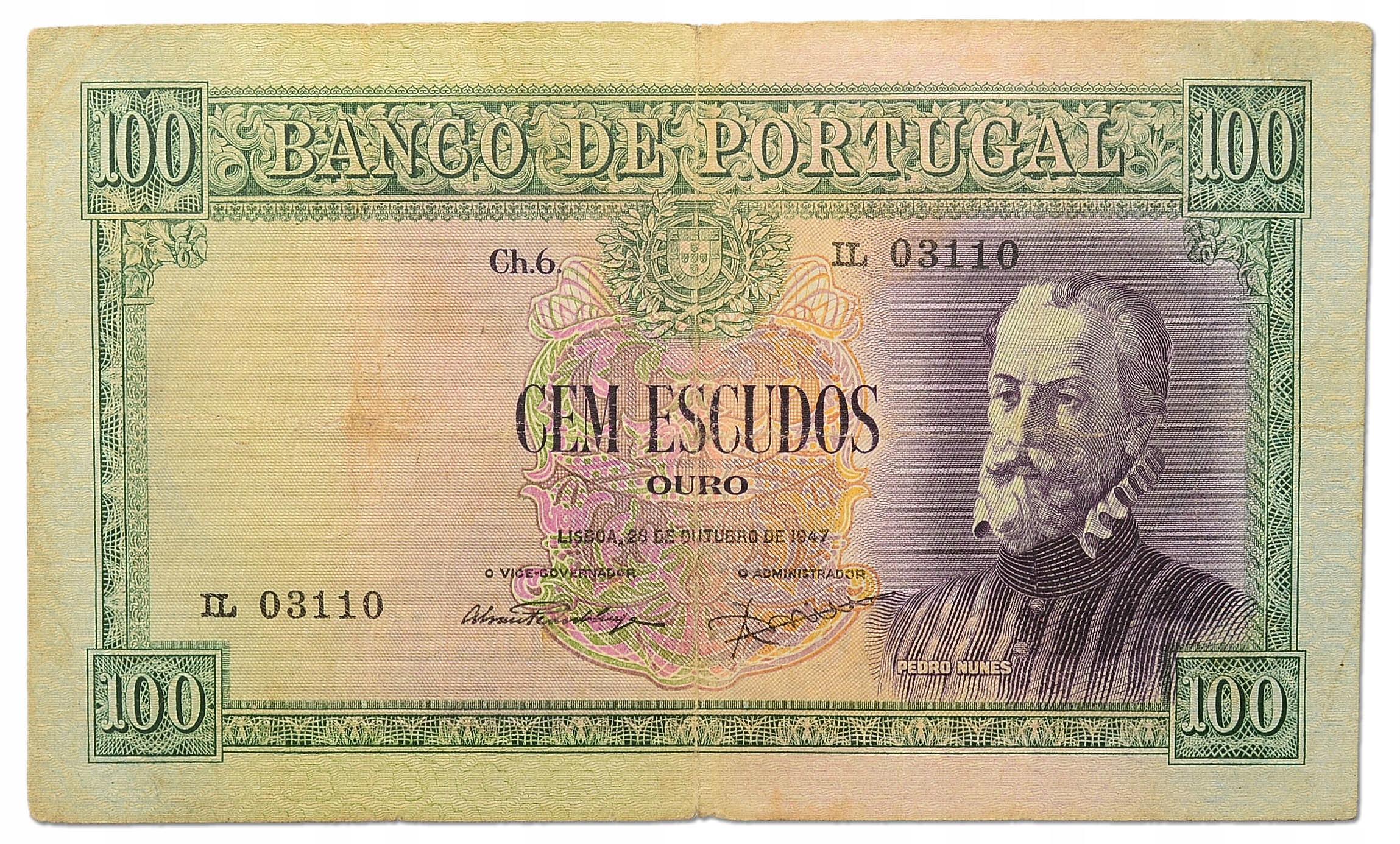 10.Portugalia, 100 Escudos 1947 rzadki, St.3/3+