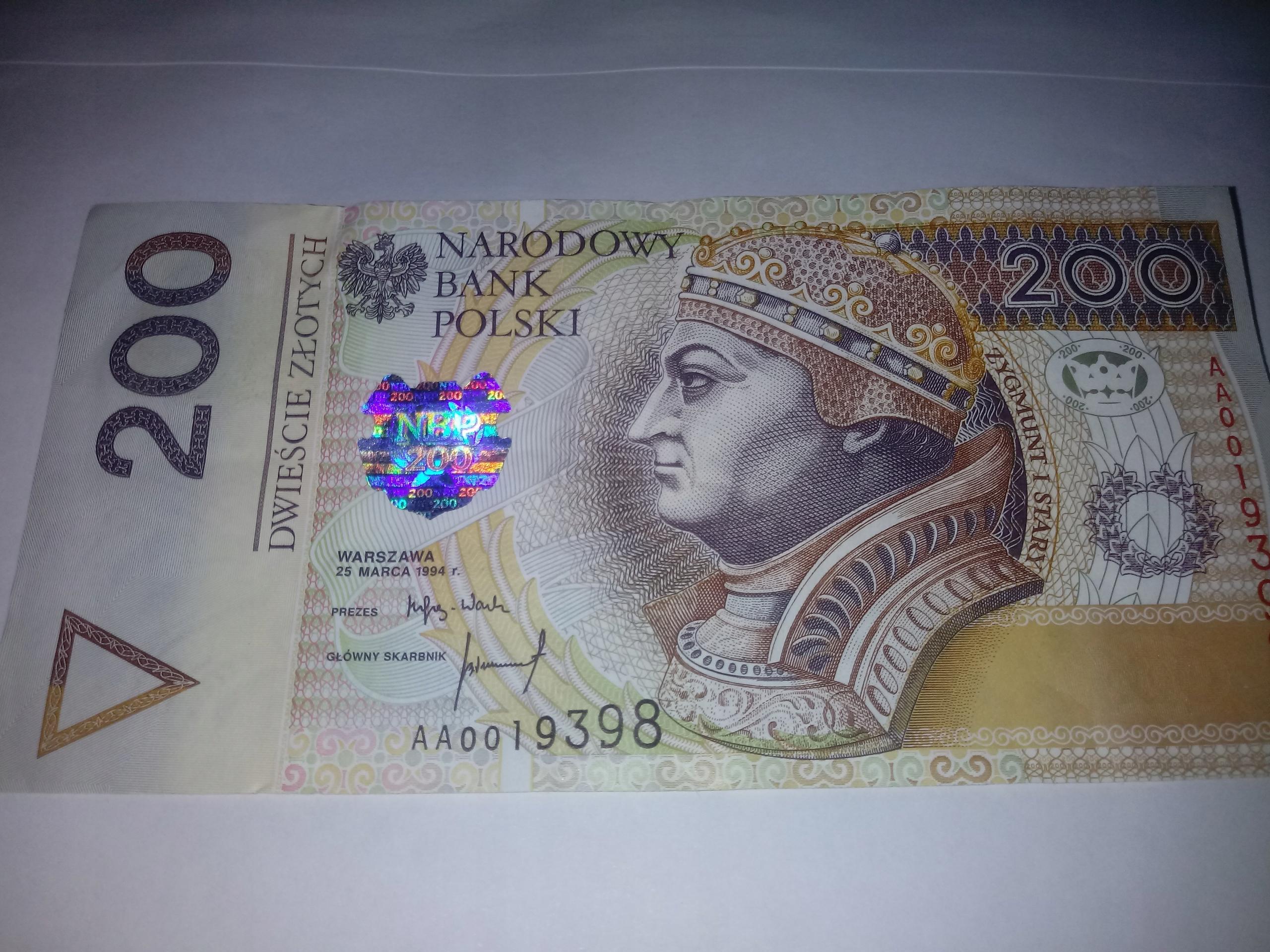 200 zł serii AA z 1994 niski numer