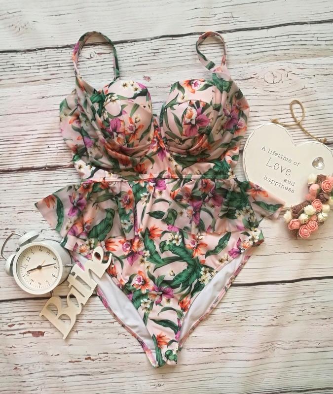 NOWY strój kąpielowy ASOS kwiaty z falbanami 42 XL
