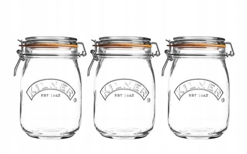 Kilner Round Clip Top Jars Zestaw 3 słoików 1 l