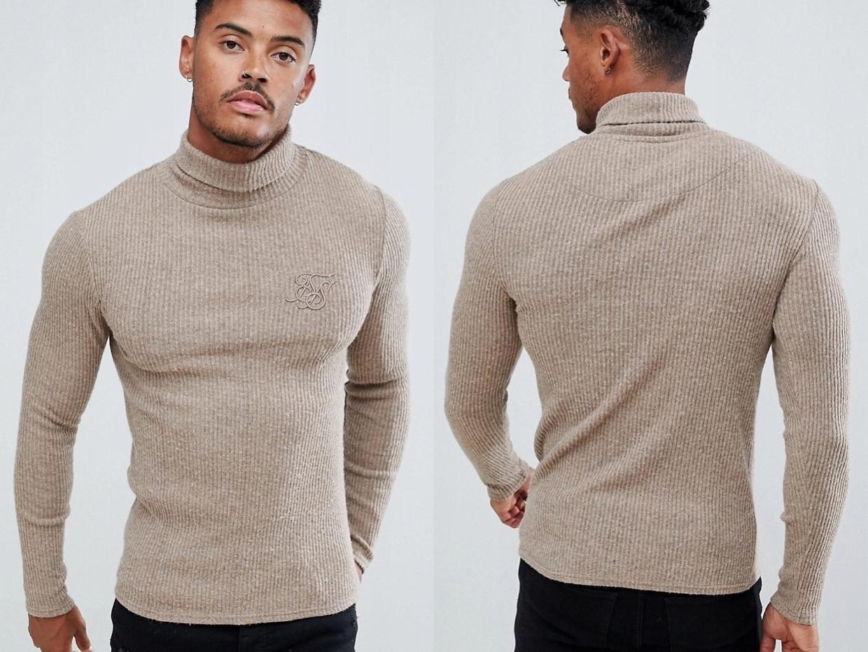 SikSilk - Dzianinowy sweter z golfem M