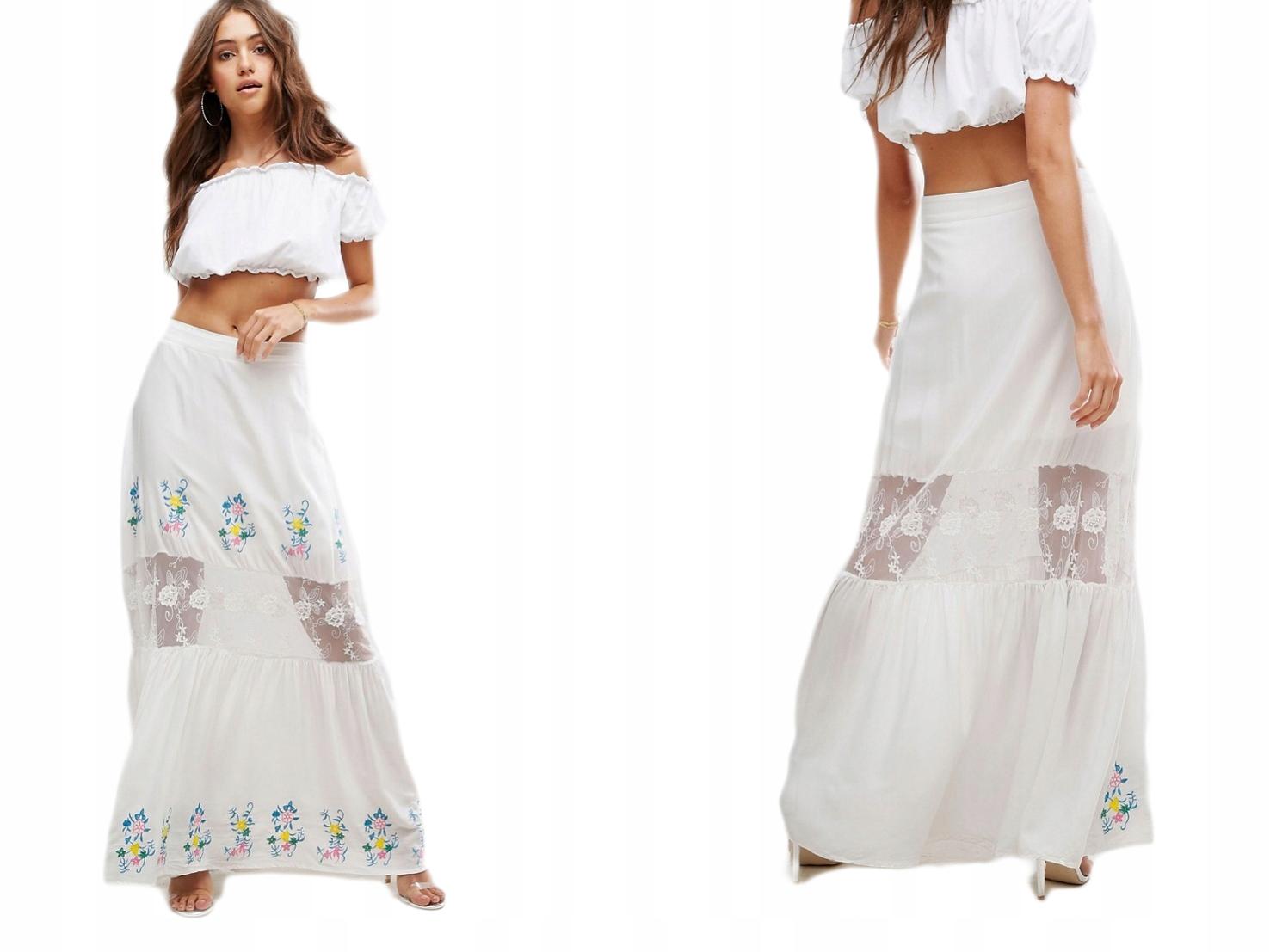 Boohoo biała maxi spódnica w kwiaty XS/34