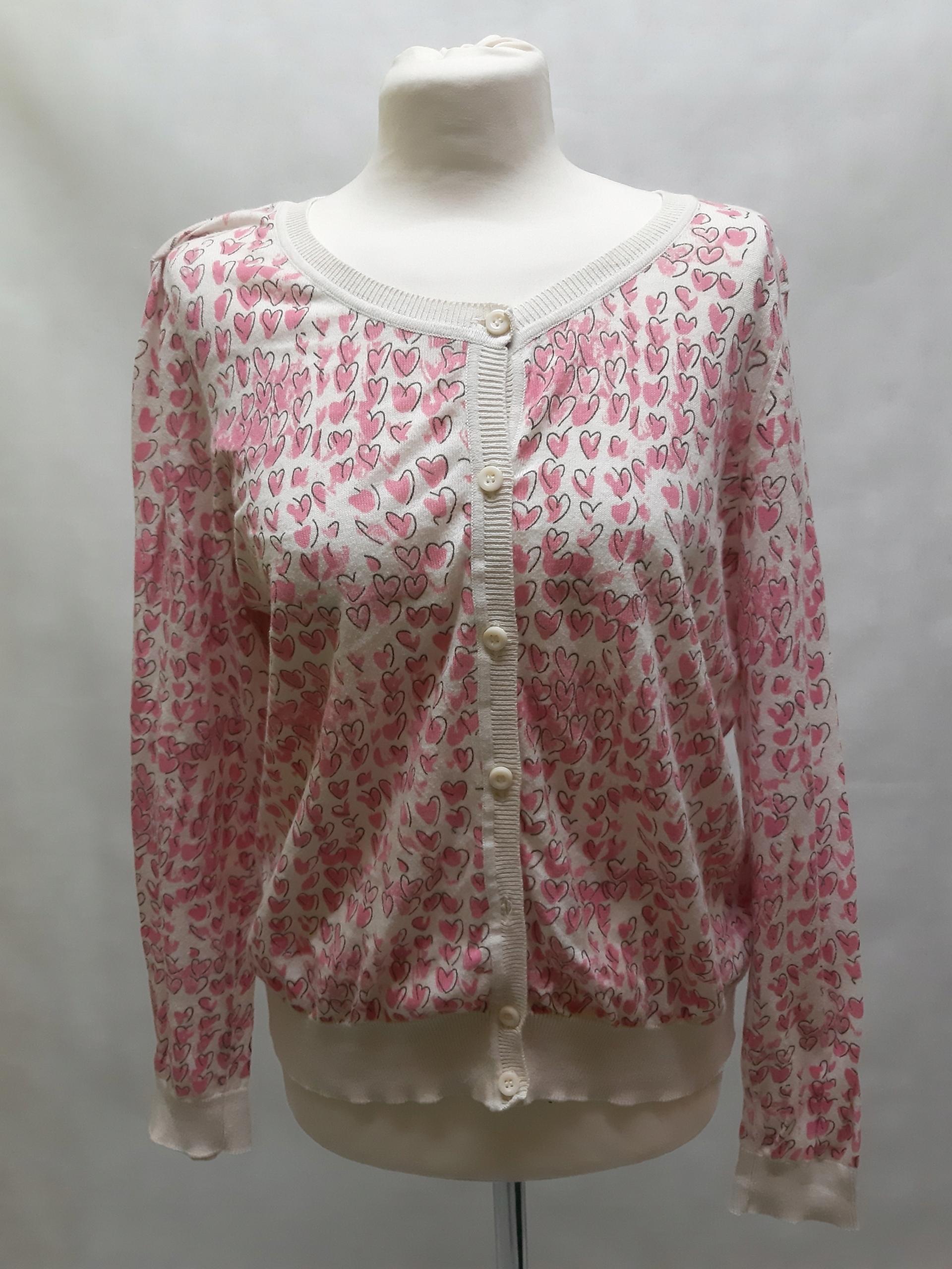 Jasny rozpinany sweter w serduszka New Look S1