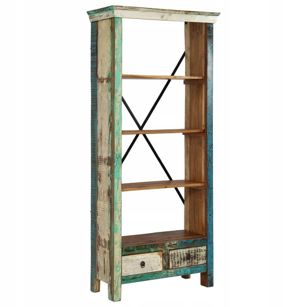 Regał Na Książki Lite Drewno Z Odzysku 80 X 35 X