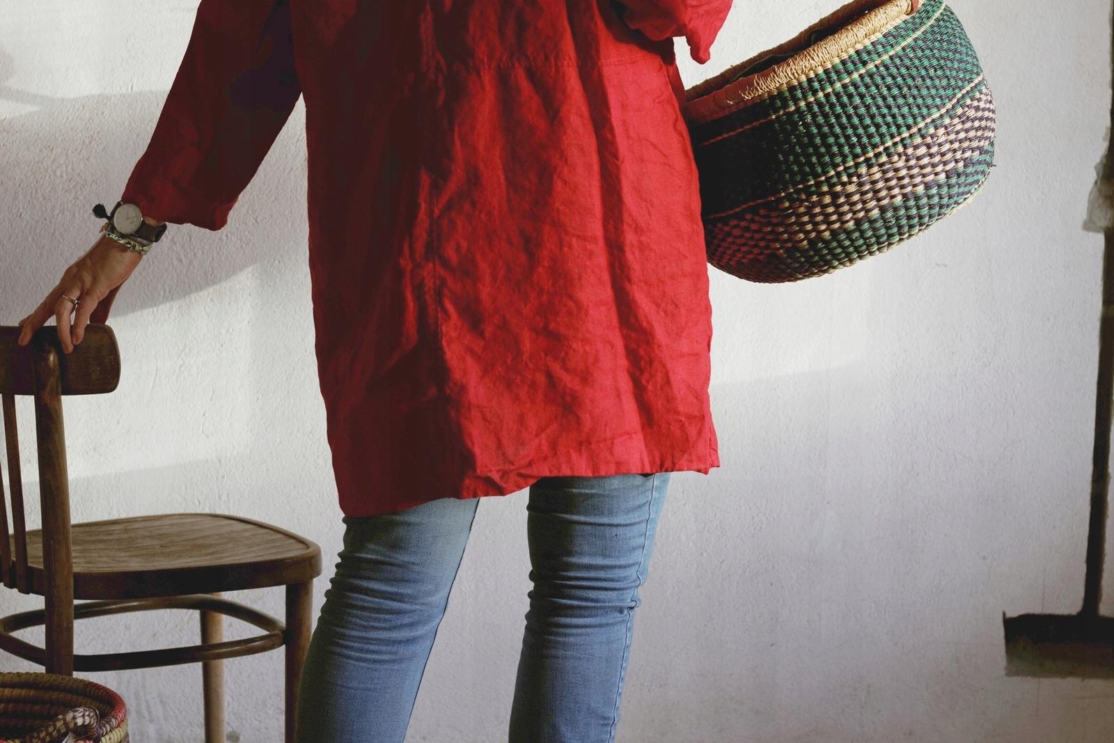 c6ec5d5b05 Lniana tunika damska w kolorze czerwonego wina - 7516151038 ...