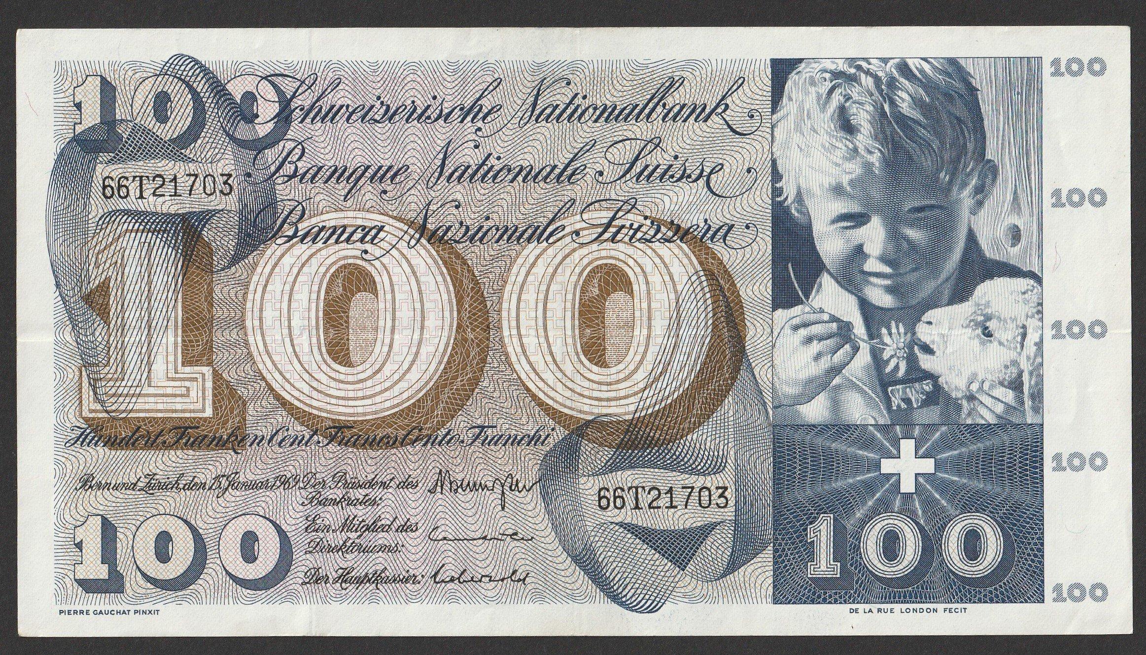 Szwajcaria - 100 franków - 1969 - seria 66T