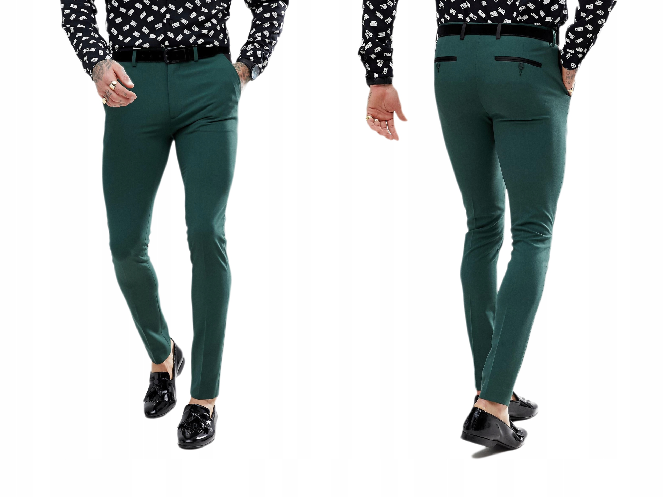 Zielone Eleganckie Męskie Spodnie w Kant W32/L30