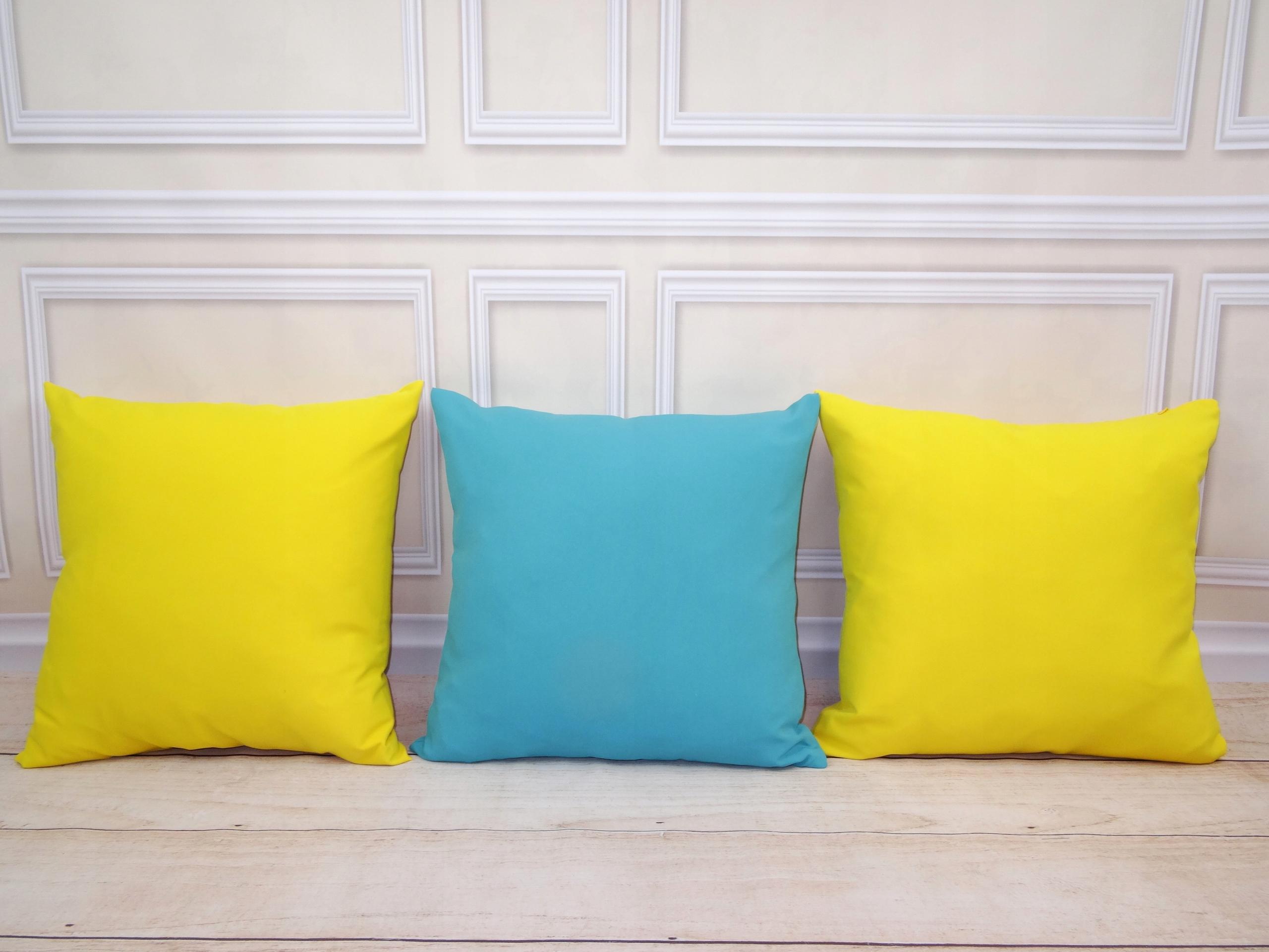 3 Duże Poduszki Dekoracyjne Turkusowo żółte 7712523403