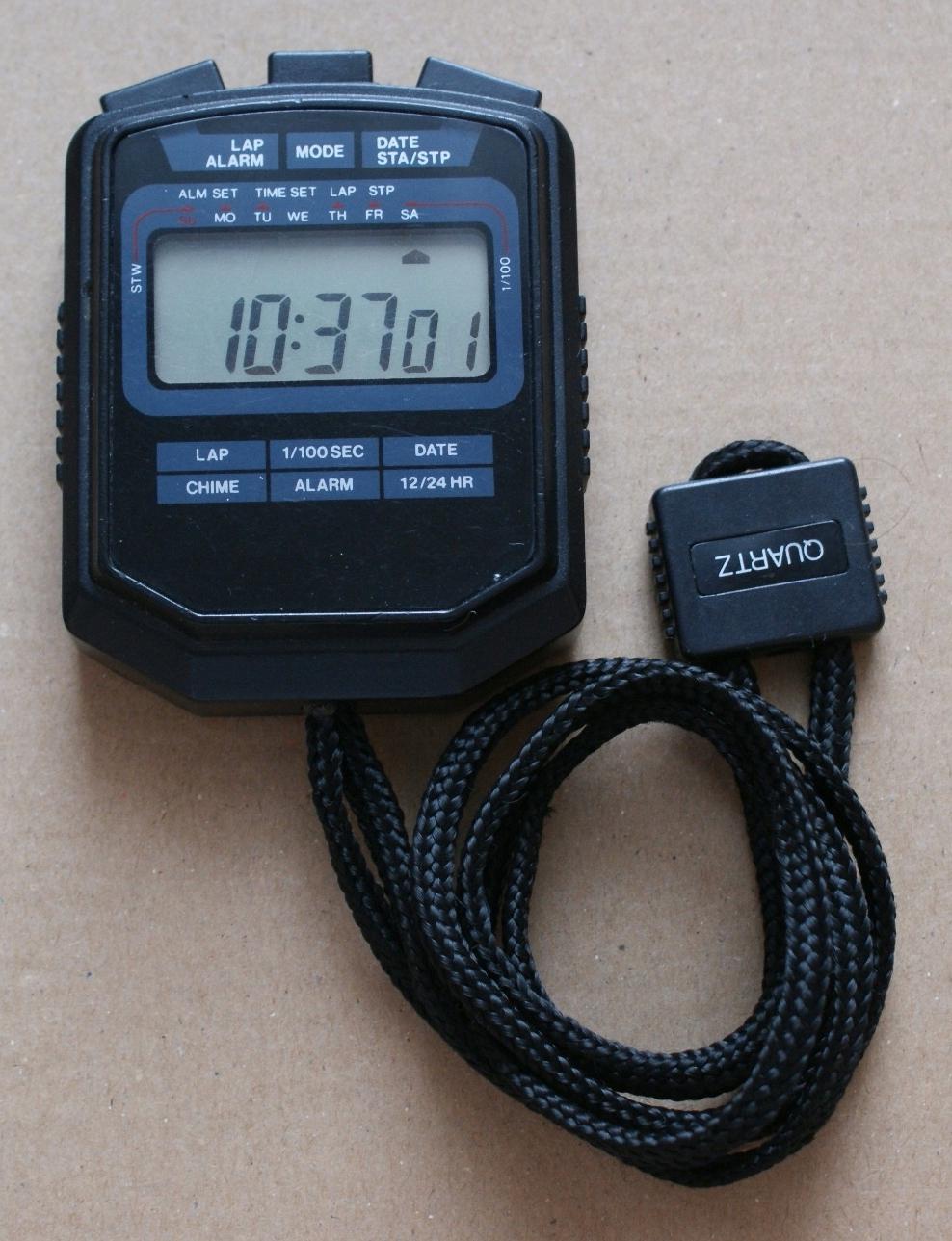 Cyfrowy stoper treningowy 1/100s alarm data czas